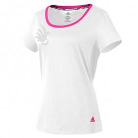 Tee-shirt Adidas badminton shuttlecock women blanc