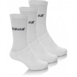 Pack de 3 paires de chaussettes Babolat junior blanches