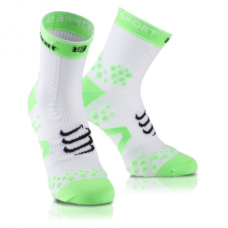 Chaussettes de compression Compressport Double layer blanches et vertes